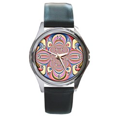 Pastel Shades Ornamental Flower Round Metal Watch