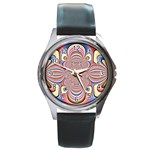 Pastel Shades Ornamental Flower Round Metal Watch Front