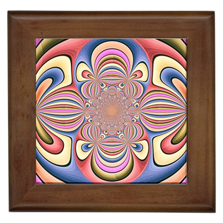 Pastel Shades Ornamental Flower Framed Tiles