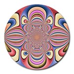 Pastel Shades Ornamental Flower Round Mousepads Front