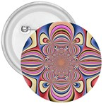 Pastel Shades Ornamental Flower 3  Buttons Front