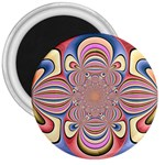 Pastel Shades Ornamental Flower 3  Magnets Front