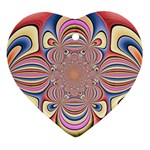 Pastel Shades Ornamental Flower Ornament (Heart)  Front