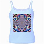 Pastel Shades Ornamental Flower Baby Blue Spaghetti Tank Front