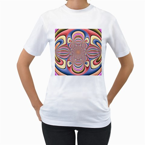 Pastel Shades Ornamental Flower Women s T-Shirt (White) (Two Sided)