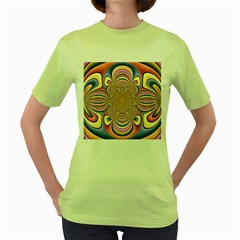 Pastel Shades Ornamental Flower Women s Green T Shirt