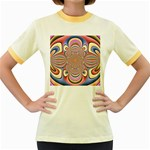 Pastel Shades Ornamental Flower Women s Fitted Ringer T-Shirts Front