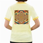 Pastel Shades Ornamental Flower Women s Fitted Ringer T-Shirts Back