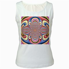 Pastel Shades Ornamental Flower Women s White Tank Top