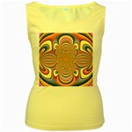 Pastel Shades Ornamental Flower Women s Yellow Tank Top Front