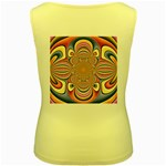 Pastel Shades Ornamental Flower Women s Yellow Tank Top Back