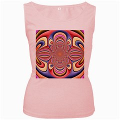 Pastel Shades Ornamental Flower Women s Pink Tank Top