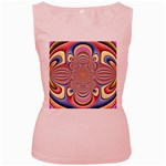 Pastel Shades Ornamental Flower Women s Pink Tank Top Front