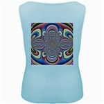 Pastel Shades Ornamental Flower Women s Baby Blue Tank Top Back