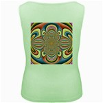 Pastel Shades Ornamental Flower Women s Green Tank Top Back