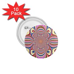 Pastel Shades Ornamental Flower 1 75  Buttons (10 Pack)