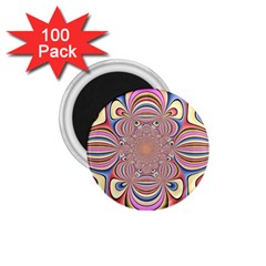 Pastel Shades Ornamental Flower 1 75  Magnets (100 Pack)