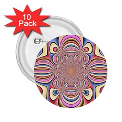Pastel Shades Ornamental Flower 2 25  Buttons (10 Pack)