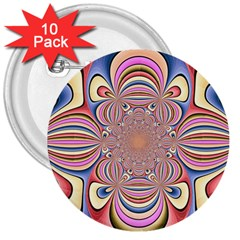 Pastel Shades Ornamental Flower 3  Buttons (10 Pack)