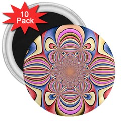 Pastel Shades Ornamental Flower 3  Magnets (10 pack)