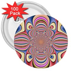 Pastel Shades Ornamental Flower 3  Buttons (100 Pack)