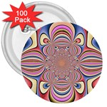 Pastel Shades Ornamental Flower 3  Buttons (100 pack)  Front
