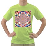 Pastel Shades Ornamental Flower Green T-Shirt Front