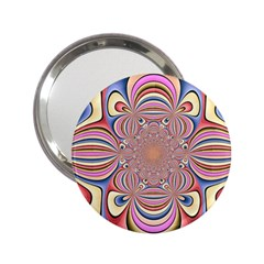 Pastel Shades Ornamental Flower 2 25  Handbag Mirrors