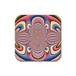 Pastel Shades Ornamental Flower Rubber Coaster (Square)  Front