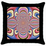 Pastel Shades Ornamental Flower Throw Pillow Case (Black) Front
