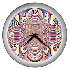 Pastel Shades Ornamental Flower Wall Clocks (silver)