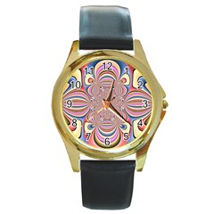 Pastel Shades Ornamental Flower Round Gold Metal Watch