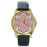 Pastel Shades Ornamental Flower Round Gold Metal Watch Front