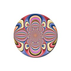 Pastel Shades Ornamental Flower Rubber Coaster (Round)