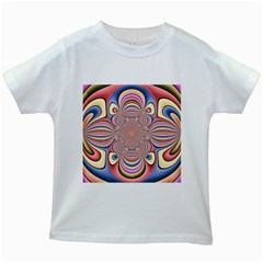 Pastel Shades Ornamental Flower Kids White T Shirts