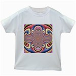 Pastel Shades Ornamental Flower Kids White T-Shirts Front
