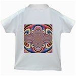 Pastel Shades Ornamental Flower Kids White T-Shirts Back
