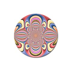 Pastel Shades Ornamental Flower Magnet 3  (round)