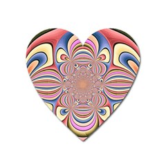Pastel Shades Ornamental Flower Heart Magnet