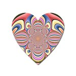 Pastel Shades Ornamental Flower Heart Magnet Front