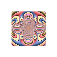Pastel Shades Ornamental Flower Square Magnet