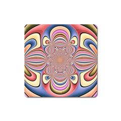 Pastel Shades Ornamental Flower Square Magnet