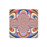 Pastel Shades Ornamental Flower Square Magnet Front