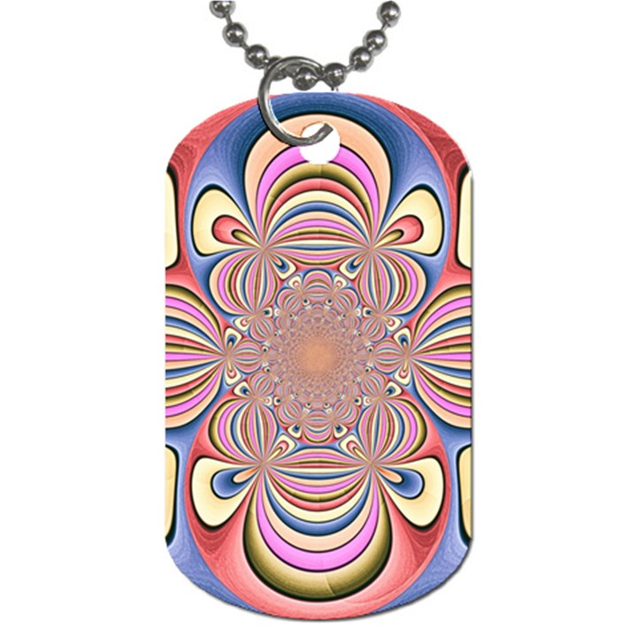 Pastel Shades Ornamental Flower Dog Tag (One Side)
