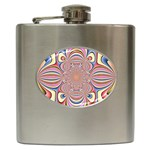 Pastel Shades Ornamental Flower Hip Flask (6 oz) Front