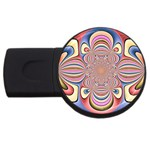 Pastel Shades Ornamental Flower USB Flash Drive Round (2 GB)  Front