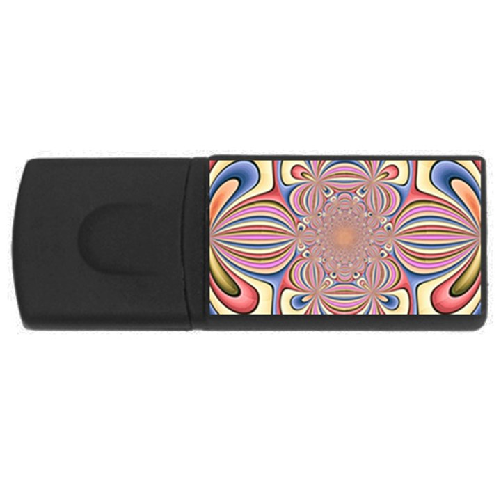 Pastel Shades Ornamental Flower USB Flash Drive Rectangular (2 GB)