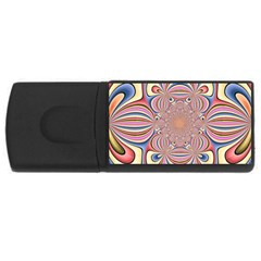 Pastel Shades Ornamental Flower USB Flash Drive Rectangular (1 GB)