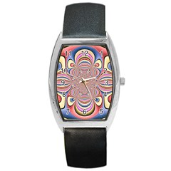 Pastel Shades Ornamental Flower Barrel Style Metal Watch