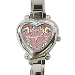 Pastel Shades Ornamental Flower Heart Italian Charm Watch Front